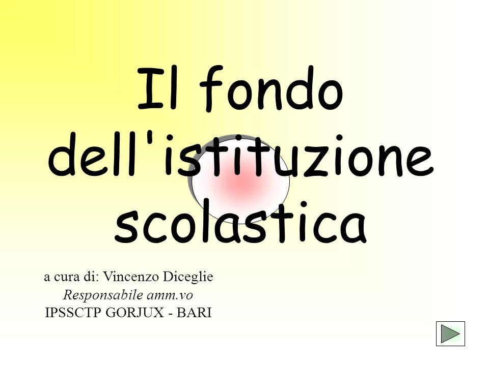 Il fondo dell'istituzione scolastica a cura di: Vincenzo Diceglie Responsabile amm.vo IPSSCTP GORJUX - BARI