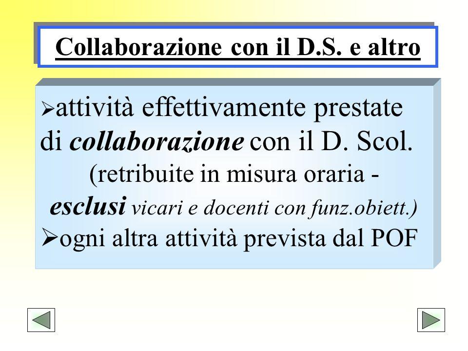 Collaborazione con il D.S. e altro attività effettivamente prestate di collaborazione con il D. Scol. (retribuite in misura oraria - esclusi vicari e