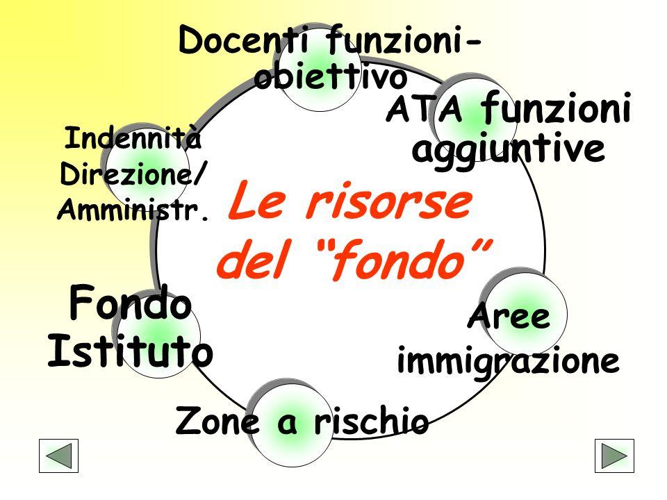 Fondo Istituto Indennità Direzione/ Amministr. Zone a rischio Aree immigrazione Docenti funzioni- obiettivo ATA funzioni aggiuntive Le risorse del fon
