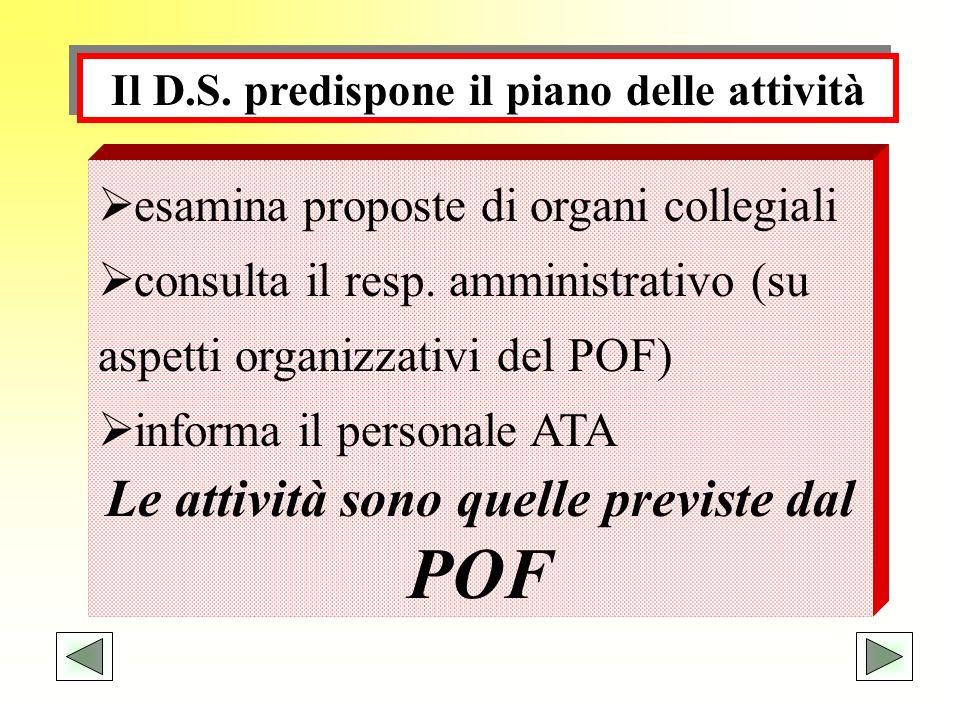Il D.S. predispone il piano delle attività esamina proposte di organi collegiali consulta il resp. amministrativo (su aspetti organizzativi del POF) i