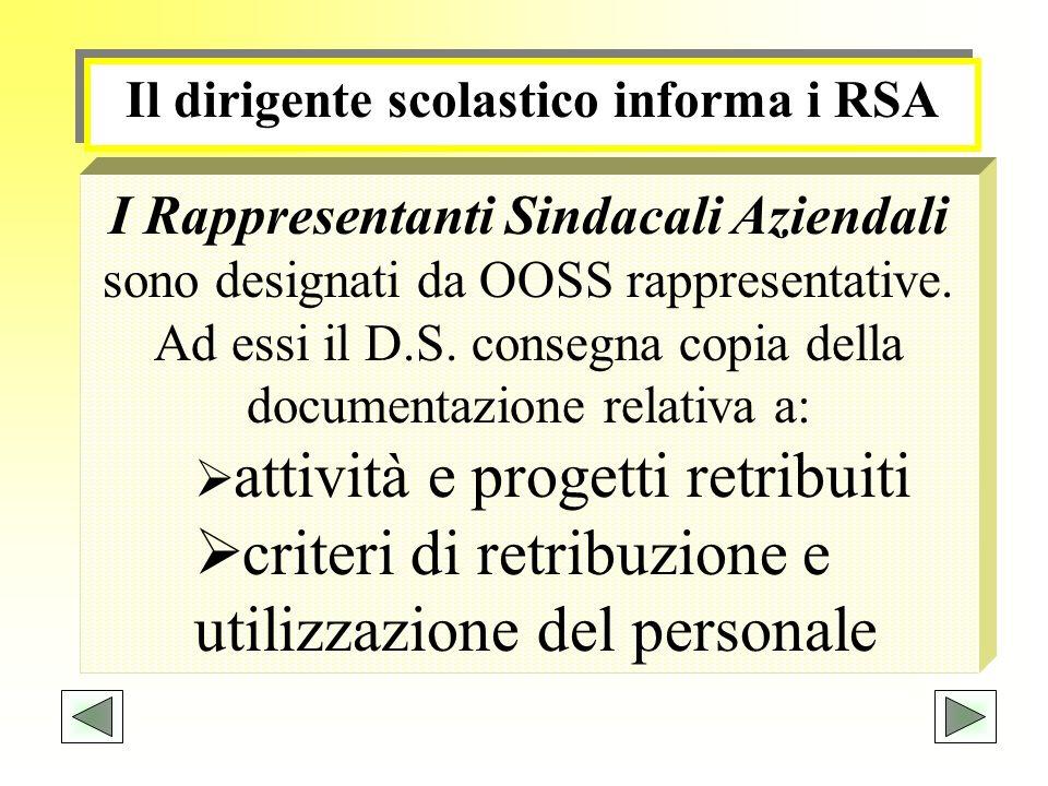 Il dirigente scolastico informa i RSA I Rappresentanti Sindacali Aziendali sono designati da OOSS rappresentative. Ad essi il D.S. consegna copia dell