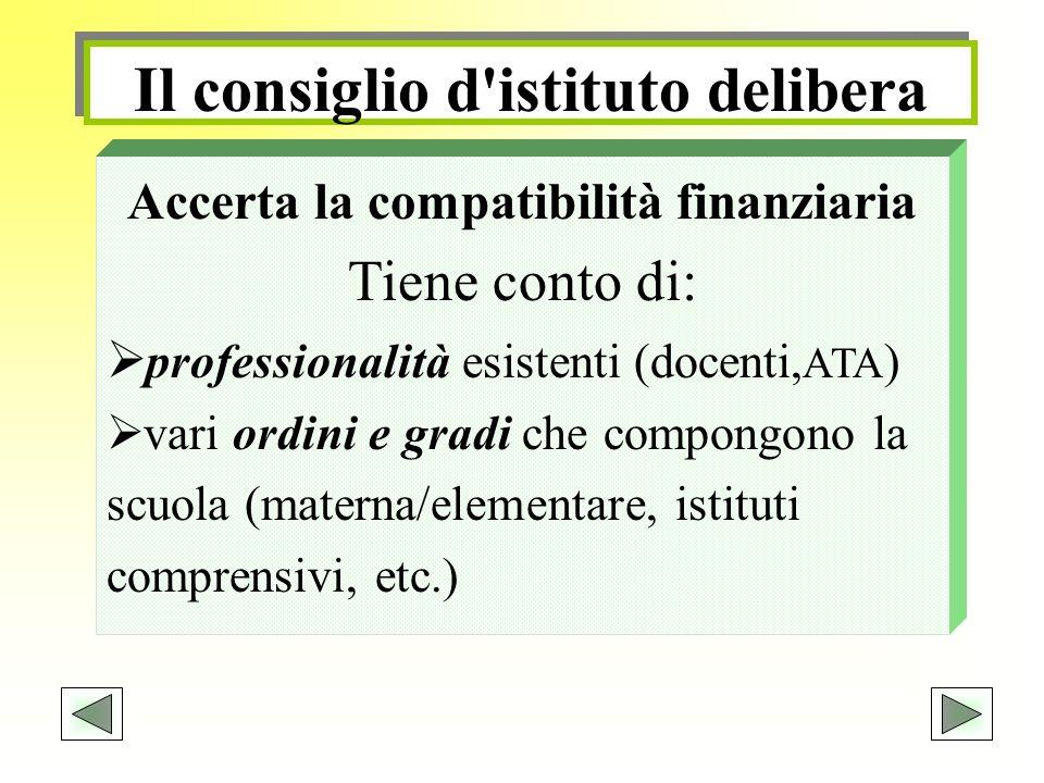 Il consiglio d'istituto delibera Accerta la compatibilità finanziaria Tiene conto di: professionalità esistenti (docenti, ATA ) vari ordini e gradi ch