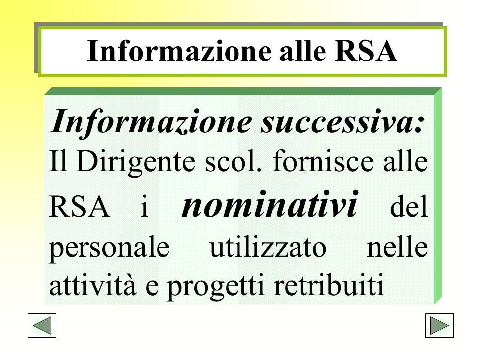 Informazione alle RSA Informazione successiva: Il Dirigente scol. fornisce alle RSA i nominativi del personale utilizzato nelle attività e progetti re