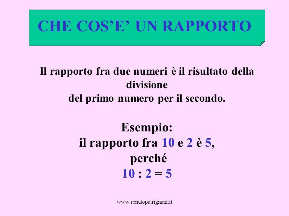 www.renatopatrignani.it CHE COSE UN RAPPORTO Il rapporto fra due numeri è il risultato della divisione del primo numero per il secondo. Esempio: il ra