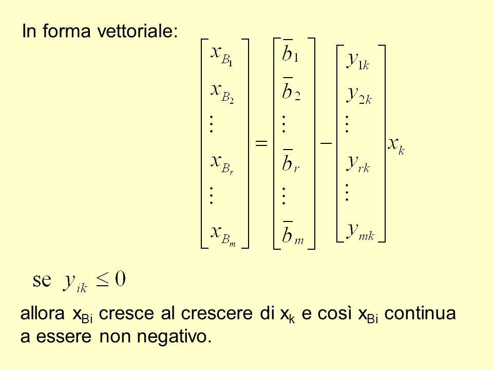 In forma vettoriale: allora x Bi cresce al crescere di x k e così x Bi continua a essere non negativo.