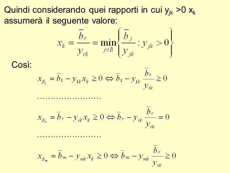 Quindi considerando quei rapporti in cui y jk >0 x k assumerà il seguente valore: Così: