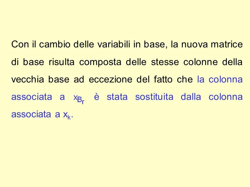 Con il cambio delle variabili in base, la nuova matrice di base risulta composta delle stesse colonne della vecchia base ad eccezione del fatto che la