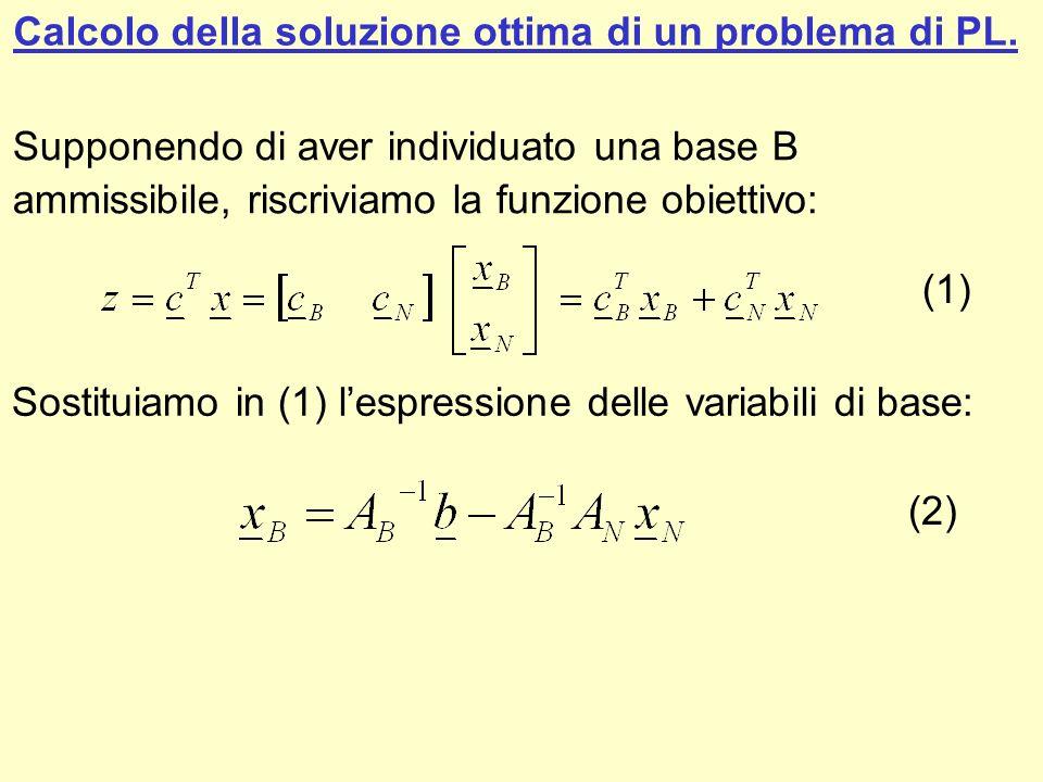 Calcolo della soluzione ottima di un problema di PL. Supponendo di aver individuato una base B ammissibile, riscriviamo la funzione obiettivo: (1) Sos