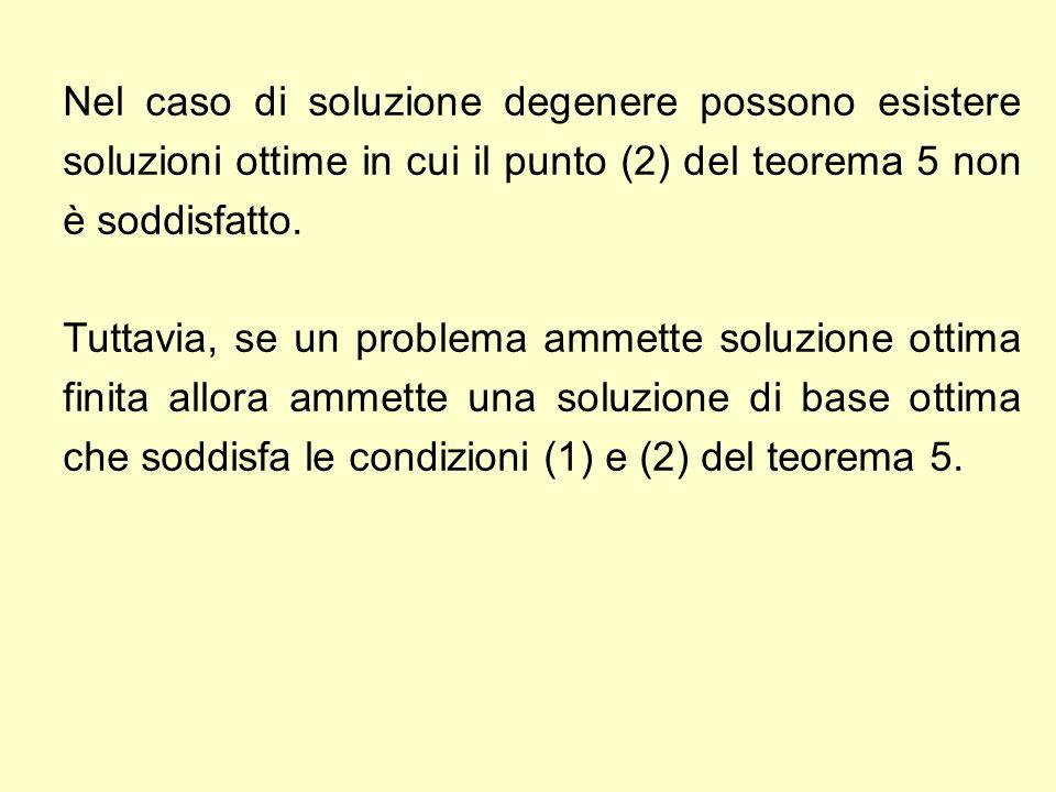 Nel caso di soluzione degenere possono esistere soluzioni ottime in cui il punto (2) del teorema 5 non è soddisfatto. Tuttavia, se un problema ammette