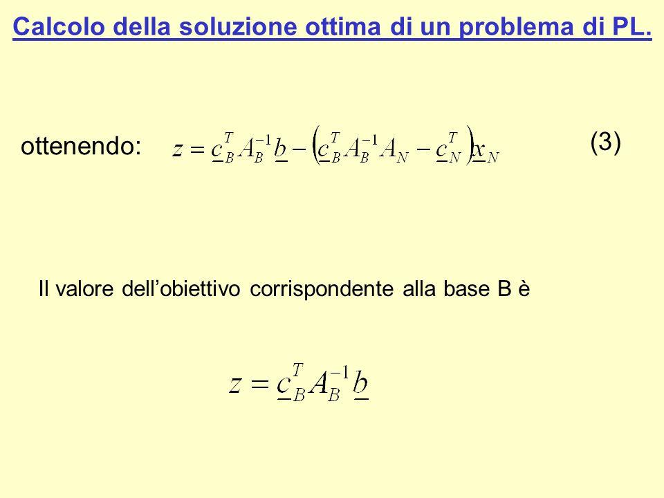 Calcolo della soluzione ottima di un problema di PL. Il valore dellobiettivo corrispondente alla base B è (3) ottenendo: