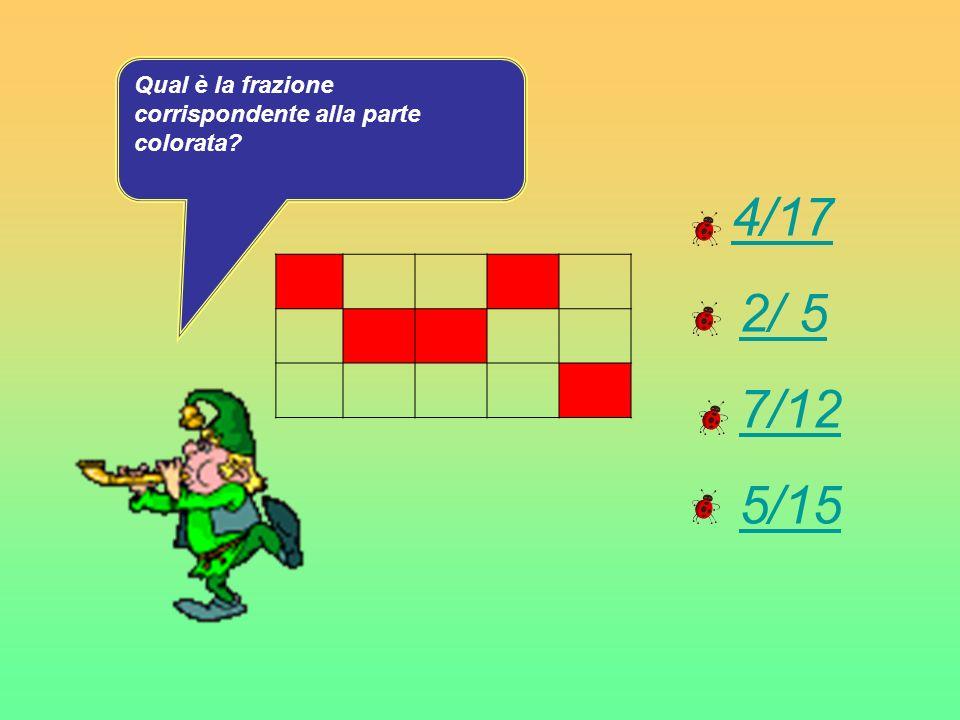 4/17 2/ 5 7/12 5/15. Qual è la frazione corrispondente alla parte colorata?