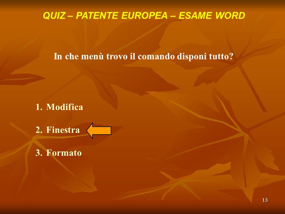 13 QUIZ – PATENTE EUROPEA – ESAME WORD In che menù trovo il comando disponi tutto? 1.Modifica 2.Finestra 3.Formato