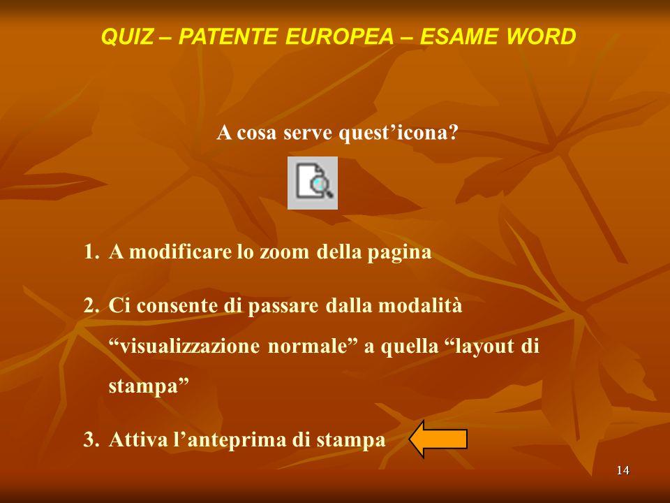 14 QUIZ – PATENTE EUROPEA – ESAME WORD A cosa serve questicona? 1.A modificare lo zoom della pagina 2.Ci consente di passare dalla modalità visualizza
