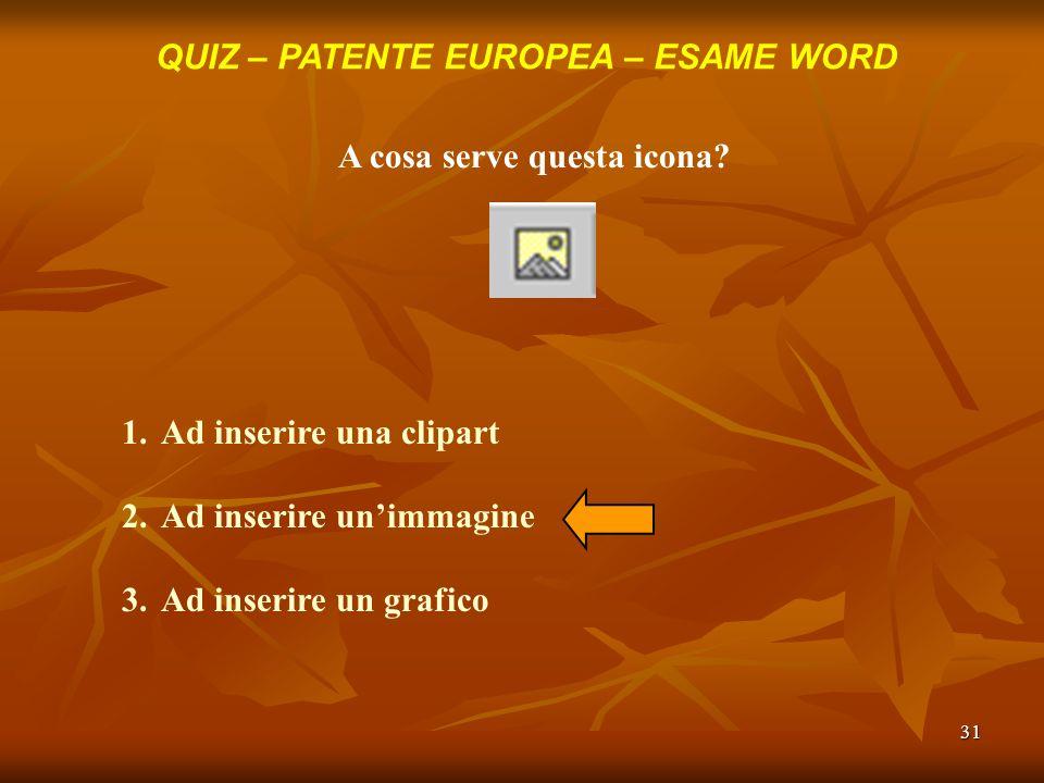31 QUIZ – PATENTE EUROPEA – ESAME WORD A cosa serve questa icona? 1.Ad inserire una clipart 2.Ad inserire unimmagine 3.Ad inserire un grafico