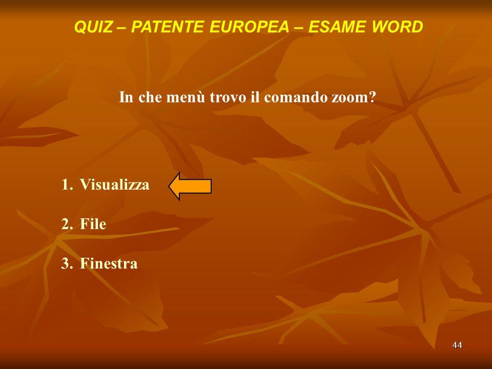 44 QUIZ – PATENTE EUROPEA – ESAME WORD In che menù trovo il comando zoom? 1.Visualizza 2.File 3.Finestra