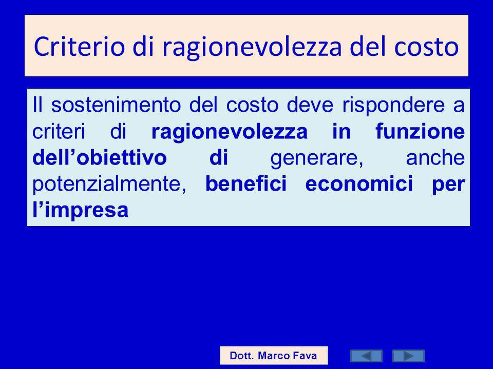 Criterio di ragionevolezza del costo Dott. Marco Fava Il sostenimento del costo deve rispondere a criteri di ragionevolezza in funzione dellobiettivo