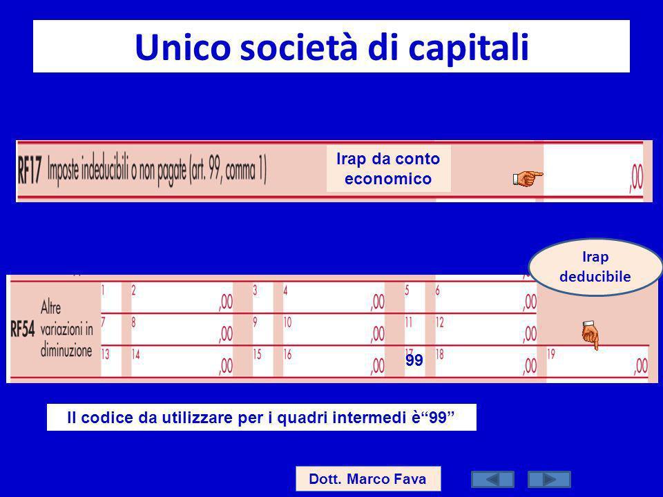Unico società di capitali Dott. Marco Fava Irap da conto economico Irap deducibile Il codice da utilizzare per i quadri intermedi è99 99