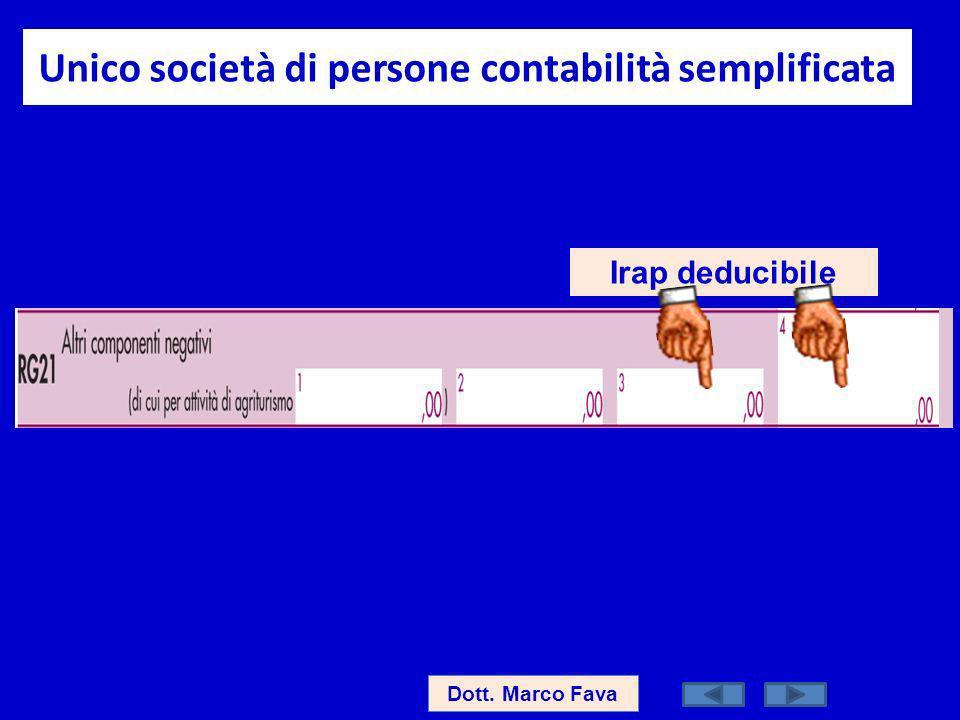 Unico società di persone contabilità semplificata Dott. Marco Fava Irap deducibile
