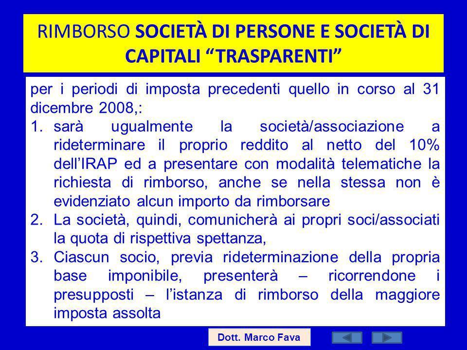 RIMBORSO SOCIETÀ DI PERSONE E SOCIETÀ DI CAPITALI TRASPARENTI Dott. Marco Fava per i periodi di imposta precedenti quello in corso al 31 dicembre 2008