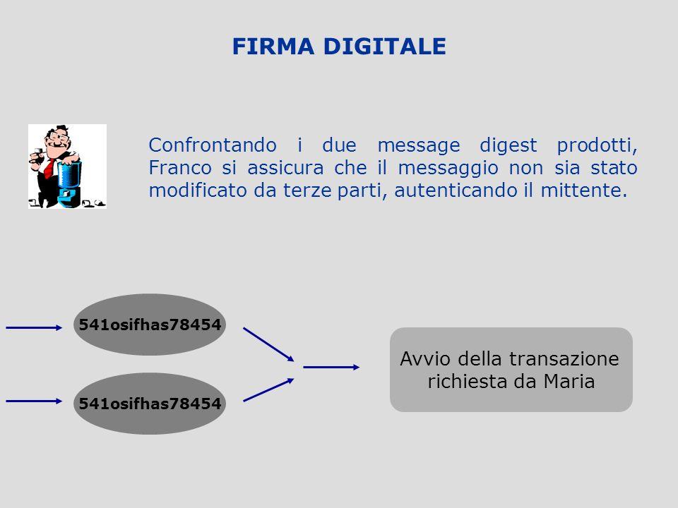 FIRMA DIGITALE Qual è la chiave pubblica di Maria? CERTIFICATION AUTHORITY Franco codifica il messaggio originario con la stessa funzione hash utilizz