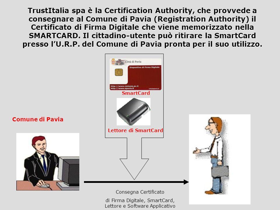 Certification Authority Registration Authority Comune di Pavia La Registration Authority (RA) provvede a firmare e crittografare larchivio contenente
