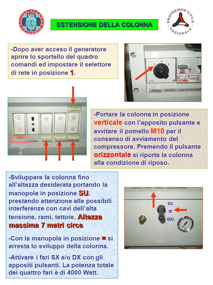 1 -Dopo aver acceso il generatore aprire lo sportello del quadro comandi ed impostare il selettore di rete in posizione 1. ESTENSIONE DELLA COLONNA ve