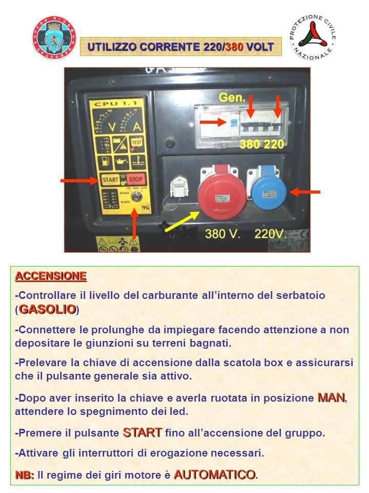UTILIZZO CORRENTE 220/380 VOLT ACCENSIONE GASOLIO -Controllare il livello del carburante allinterno del serbatoio ( GASOLIO ) -Connettere le prolunghe