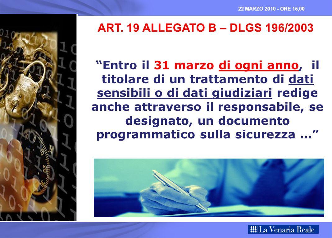 ART. 19 ALLEGATO B – DLGS 196/2003 Entro il 31 marzo di ogni anno, il titolare di un trattamento di dati sensibili o di dati giudiziari redige anche a