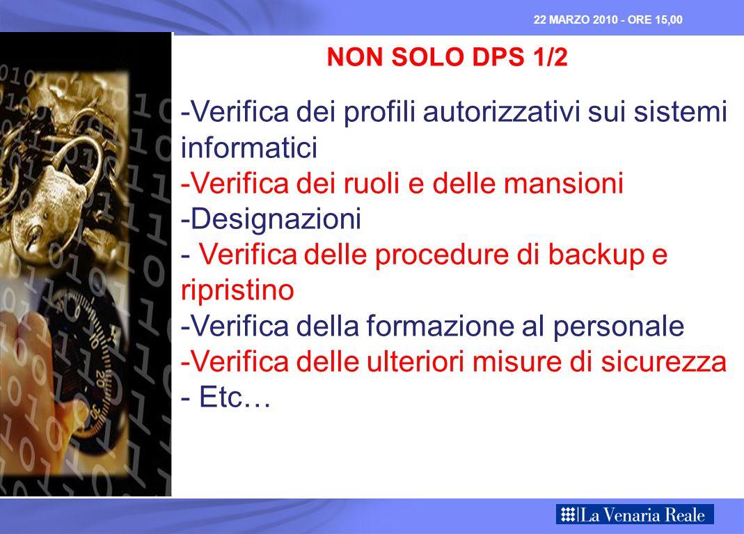 NON SOLO DPS 1/2 -Verifica dei profili autorizzativi sui sistemi informatici -Verifica dei ruoli e delle mansioni -Designazioni - Verifica delle proce