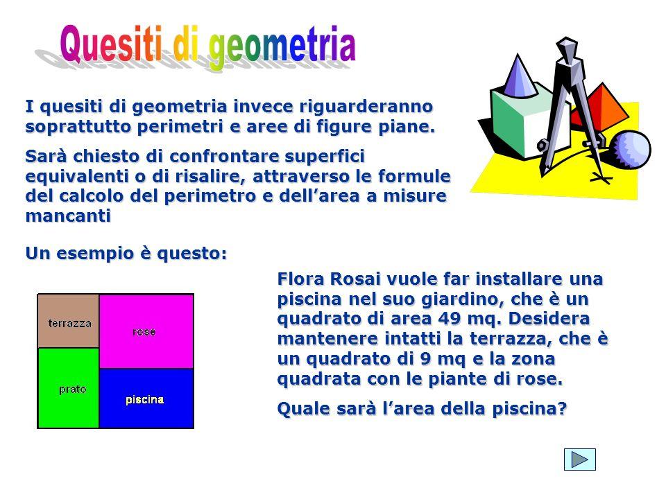 I quesiti di geometria invece riguarderanno soprattutto perimetri e aree di figure piane. Sarà chiesto di confrontare superfici equivalenti o di risal
