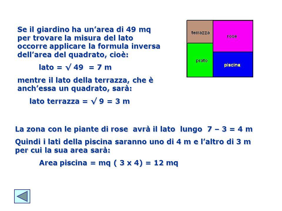 Se il giardino ha unarea di 49 mq per trovare la misura del lato occorre applicare la formula inversa dellarea del quadrato, cioè: lato = 49 = 7 m lat
