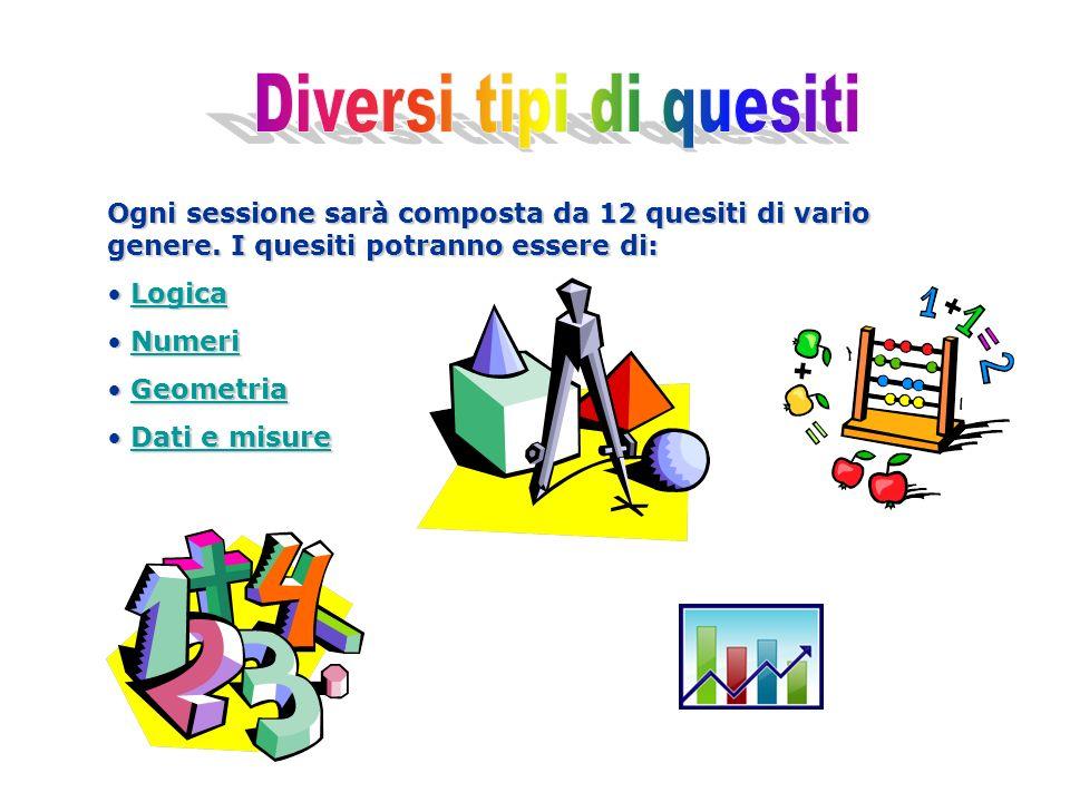 Ogni sessione sarà composta da 12 quesiti di vario genere. I quesiti potranno essere di: Logica LogicaLogica Numeri NumeriNumeri Geometria GeometriaGe