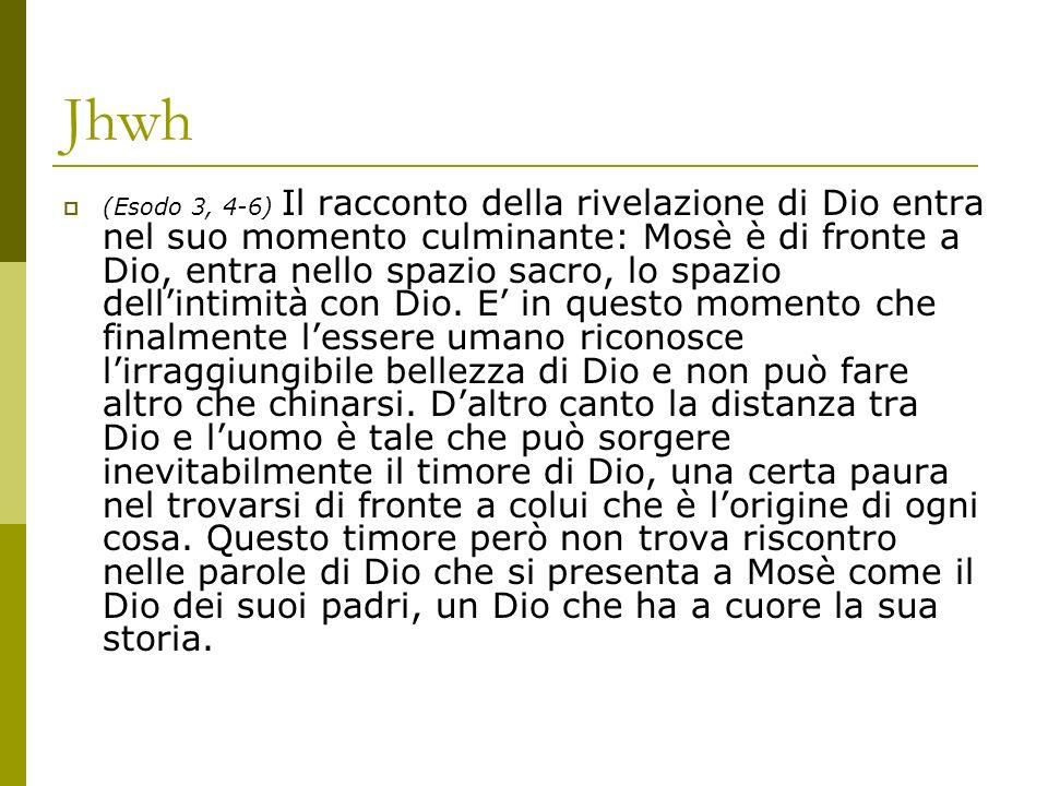 Jhwh (Esodo 3, 4-6) Il racconto della rivelazione di Dio entra nel suo momento culminante: Mosè è di fronte a Dio, entra nello spazio sacro, lo spazio