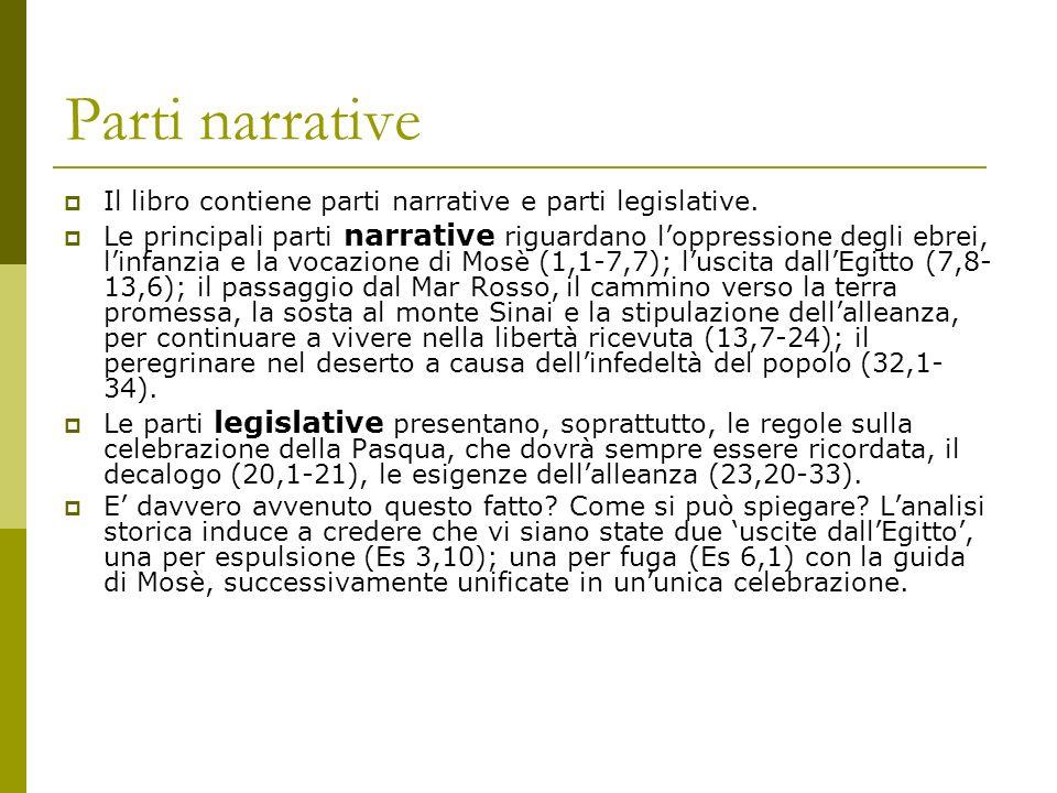 Parti narrative Il libro contiene parti narrative e parti legislative. Le principali parti narrative riguardano loppressione degli ebrei, linfanzia e