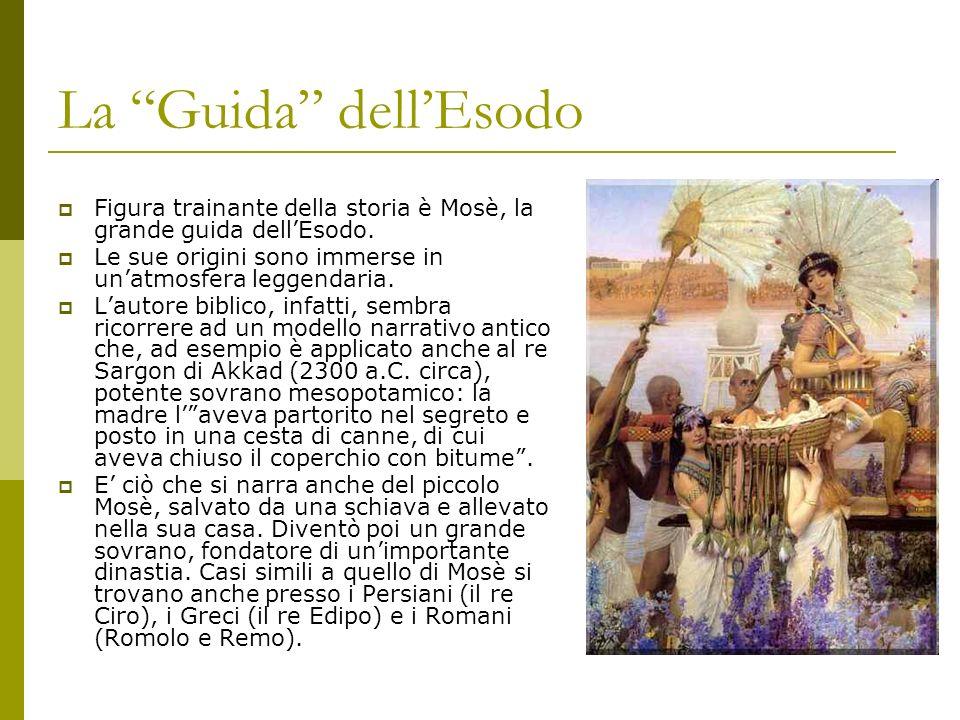 La Guida dellEsodo Figura trainante della storia è Mosè, la grande guida dellEsodo. Le sue origini sono immerse in unatmosfera leggendaria. Lautore bi