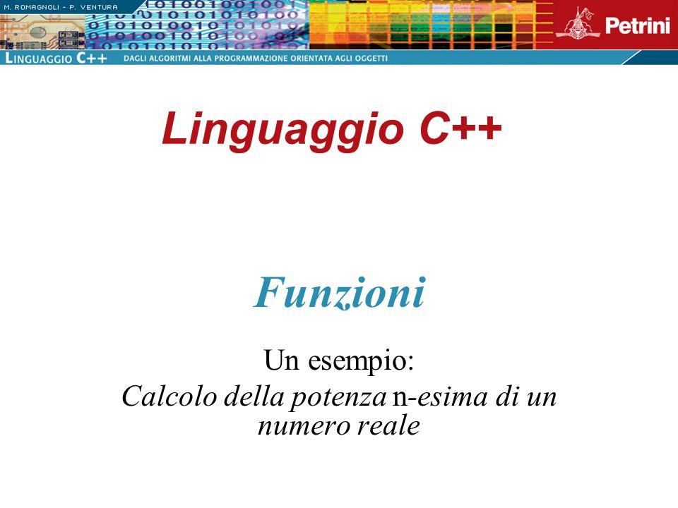 Linguaggio C++ Un esempio: Calcolo della potenza n-esima di un numero reale Funzioni