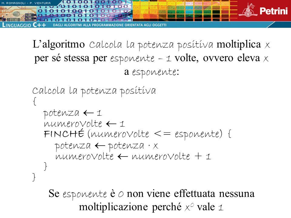 Calcola la potenza positiva { potenza 1 numeroVolte 1 FINCHÉ (numeroVolte <= esponente) { potenza potenza · x numeroVolte numeroVolte + 1 } } Lalgorit