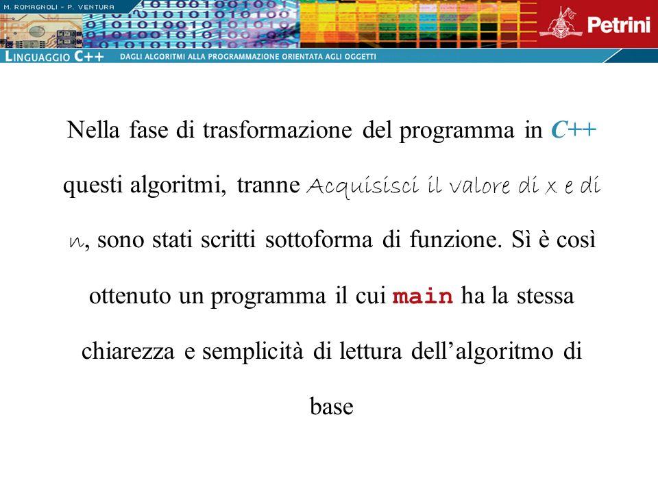 Nella fase di trasformazione del programma in C++ questi algoritmi, tranne Acquisisci il valore di x e n, sono stati scritti sottoforma di funzione. S