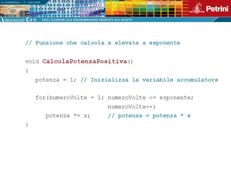 // Funzione che calcola x elevata a esponente void CalcolaPotenzaPositiva () { potenza = 1; // Inizializza la variabile accumulatore for(numeroVolte =
