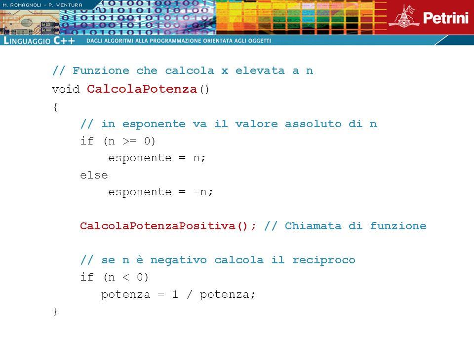 // Funzione che calcola x elevata a n void CalcolaPotenza () { // in esponente va il valore assoluto di n if (n >= 0) esponente = n; else esponente =