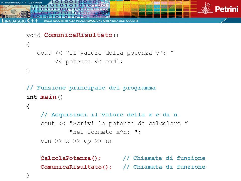 void ComunicaRisultato () { cout <<