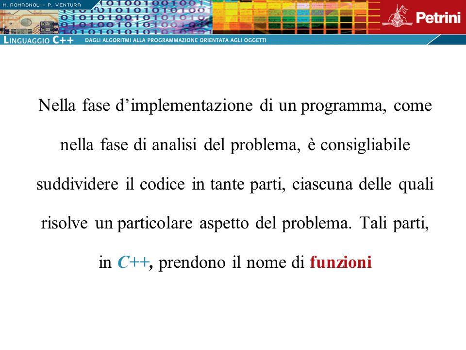 Nella fase dimplementazione di un programma, come nella fase di analisi del problema, è consigliabile suddividere il codice in tante parti, ciascuna d