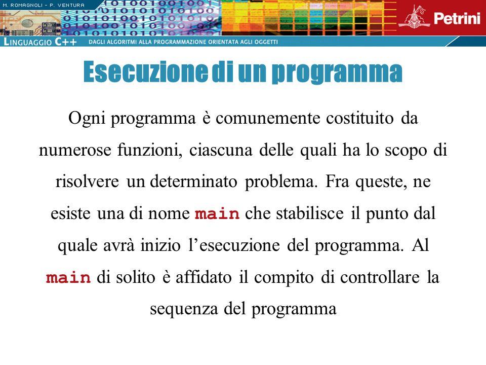 Ogni programma è comunemente costituito da numerose funzioni, ciascuna delle quali ha lo scopo di risolvere un determinato problema. Fra queste, ne es