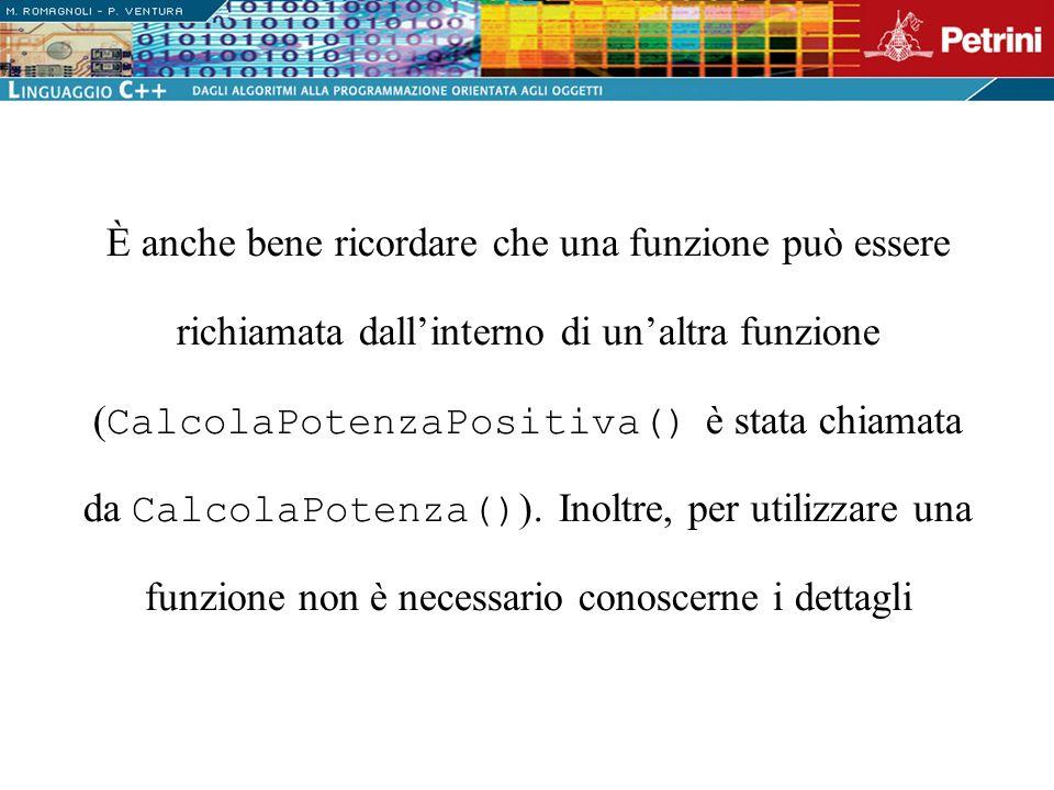È anche bene ricordare che una funzione può essere richiamata dallinterno di unaltra funzione ( CalcolaPotenzaPositiva() è stata chiamata da CalcolaPo