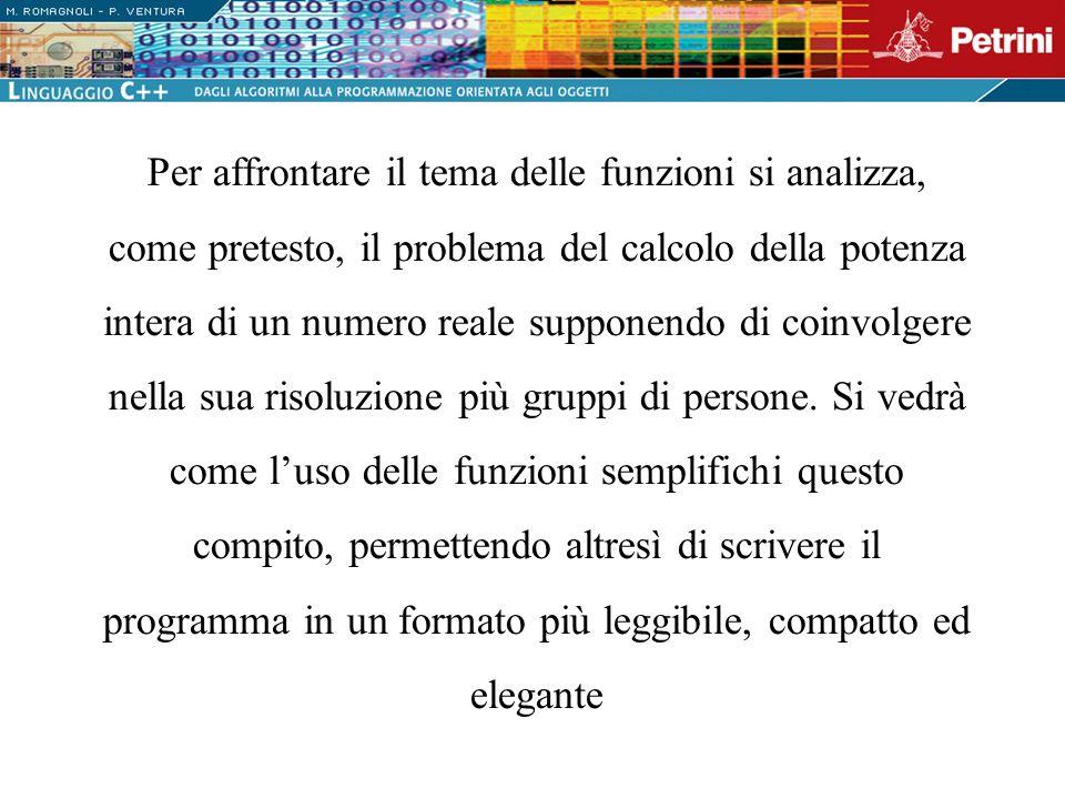 int main() {...CalcolaPotenza();... } void CalcolaPotenza() {.........