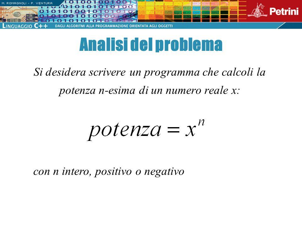 La prima versione dellalgoritmo risolutivo è ancora molto semplice: Potenza di un numero reale { Acquisisci il valore di x e di n Calcola la potenza Comunica il risultato }