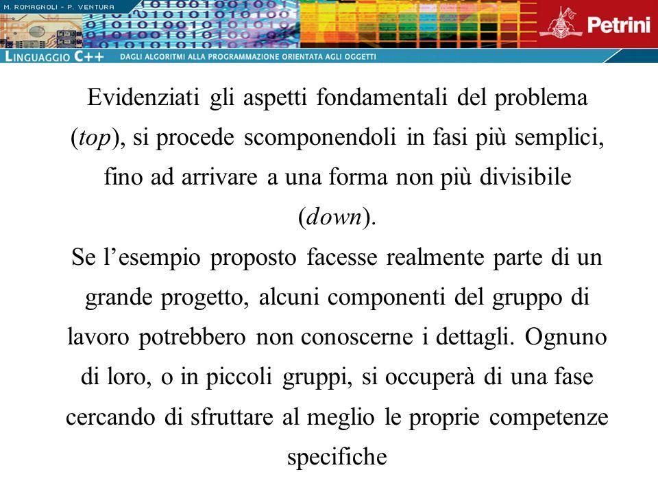Evidenziati gli aspetti fondamentali del problema (top), si procede scomponendoli in fasi più semplici, fino ad arrivare a una forma non più divisibil