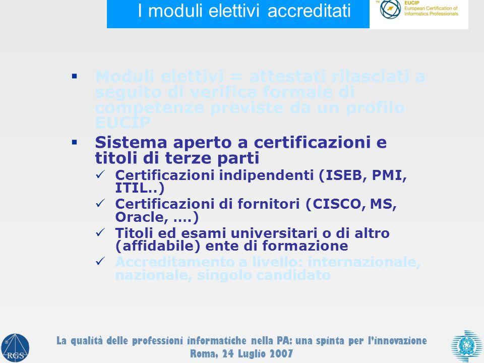 I moduli elettivi accreditati Moduli elettivi = attestati rilasciati a seguito di verifica formale di competenze previste da un profilo EUCIP Sistema aperto a certificazioni e titoli di terze parti Certificazioni indipendenti (ISEB, PMI, ITIL..) Certificazioni di fornitori (CISCO, MS, Oracle, ….) Titoli ed esami universitari o di altro (affidabile) ente di formazione Accreditamento a livello: internazionale, nazionale, singolo candidato La qualità delle professioni informatiche nella PA: una spinta per linnovazione Roma, 24 Luglio 2007