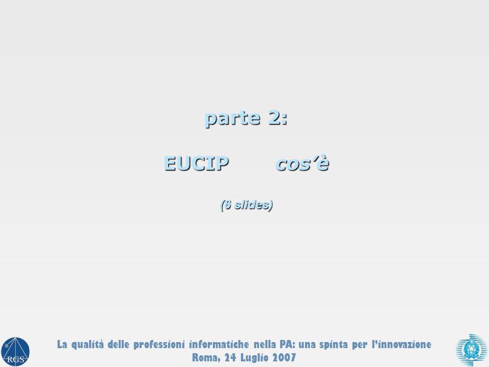 parte 2: EUCIP cosè (6 slides) La qualità delle professioni informatiche nella PA: una spinta per linnovazione Roma, 24 Luglio 2007