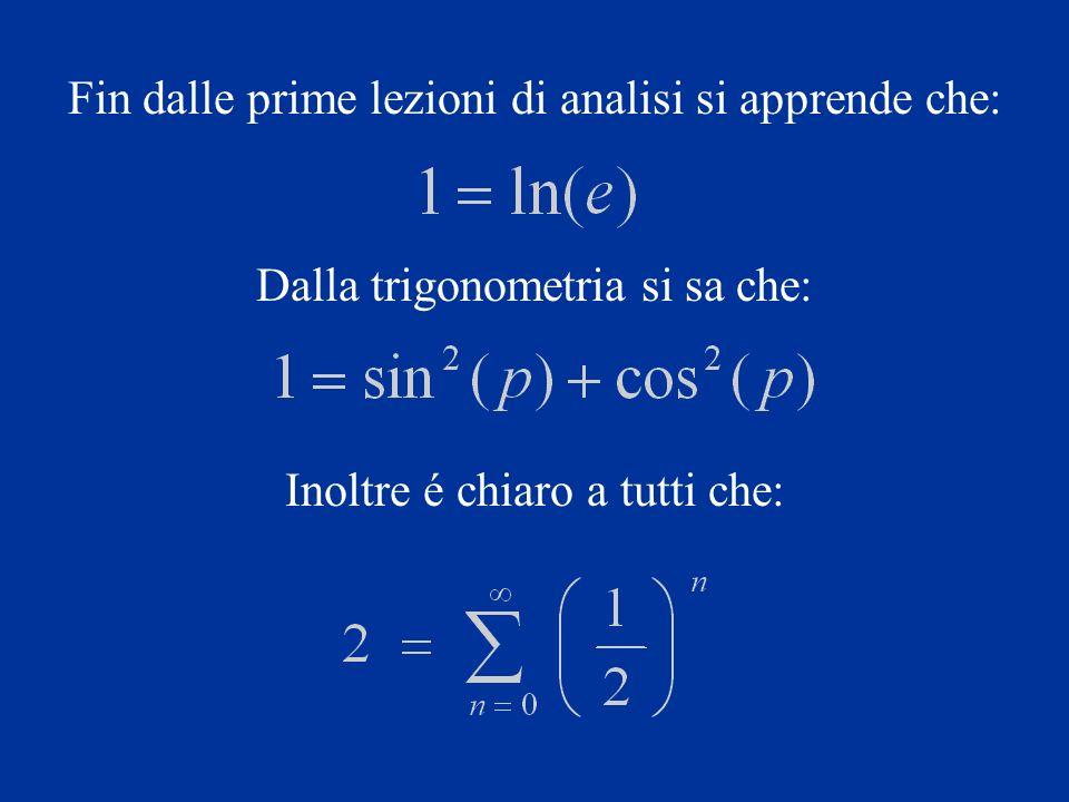 Fin dalle prime lezioni di analisi si apprende che: Dalla trigonometria si sa che: Inoltre é chiaro a tutti che: